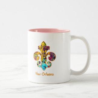 NOLA Painted Fleur de lis (4) Two-Tone Coffee Mug