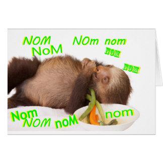 nom nom nom sloth card