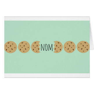 """Nom"" The Choc Chip Cookie Greeting Card"