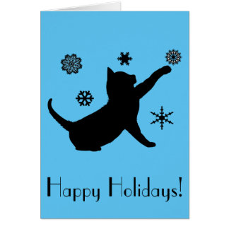 Non-Denominational Holiday Cat with Snowflakes Greeting Card