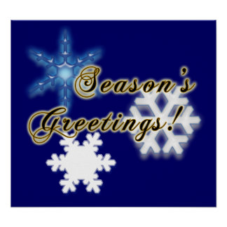 Non-Denominational Season's Greetings Snowflakes Poster