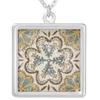 Non-Embellished Batik Square II Square Pendant Necklace