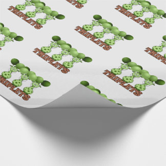 Non-Gender Specific Green Giraffe Triplets Wrapping Paper