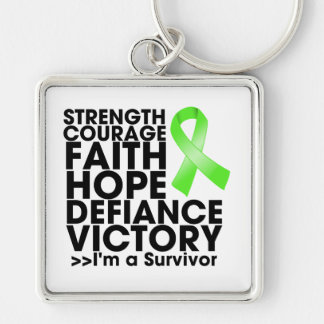 Non-Hodgkin Lymphoma Hope Strength Victory Silver-Colored Square Key Ring