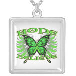Non-Hodgkin sLymphoma Hope Believe Butterfly Square Pendant Necklace