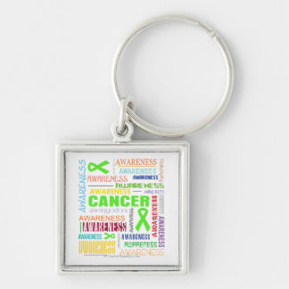 Non-Hodgkins Lymphoma Awareness Collage Silver-Colored Square Key Ring