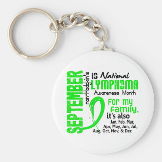 Non-Hodgkin's Lymphoma Awareness Month My Family Basic Round Button Key Ring