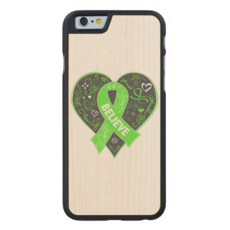 Non-Hodgkins Lymphoma Believe Ribbon Heart Carved® Maple iPhone 6 Case