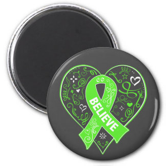 Non-Hodgkins Lymphoma Believe Ribbon Heart 2 Inch Round Magnet