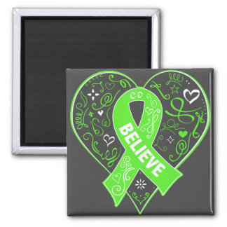 Non-Hodgkins Lymphoma Believe Ribbon Heart 2 Inch Square Magnet