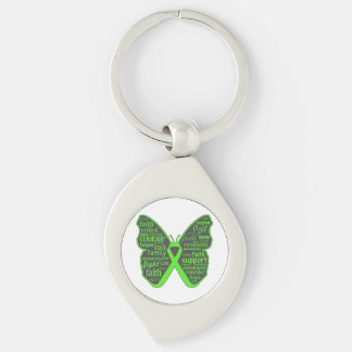 Non-Hodgkins Lymphoma Butterfly Collage of Words Keychain