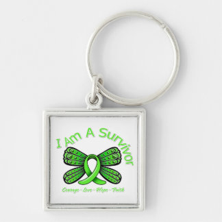 Non-Hodgkins Lymphoma Butterfly I Am A Survivor Silver-Colored Square Key Ring