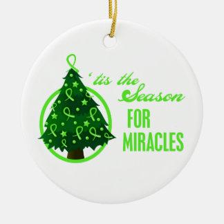 Non-Hodgkins Lymphoma Christmas Miracles Round Ceramic Decoration
