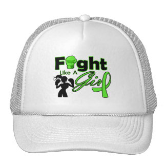 Non-Hodgkins Lymphoma Fight Like A Girl Silhouette Trucker Hat