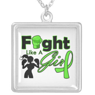 Non-Hodgkins Lymphoma Fight Like A Girl Silhouette Square Pendant Necklace