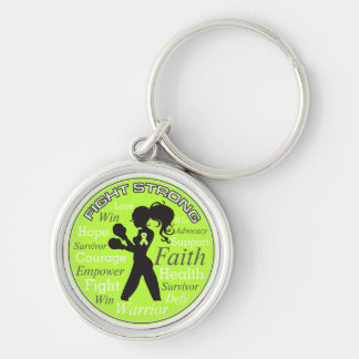 Non-Hodgkins Lymphoma Fight Strong Motto Collage Silver-Colored Round Key Ring