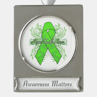 Non-Hodgkins Lymphoma Flourish Hope Faith Cure Silver Plated Banner Ornament