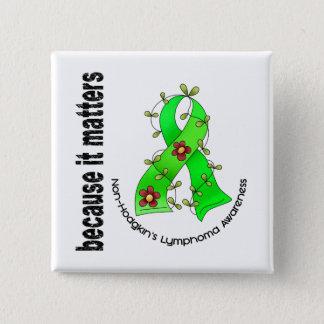 Non-Hodgkin's Lymphoma Flower Ribbon 3 15 Cm Square Badge