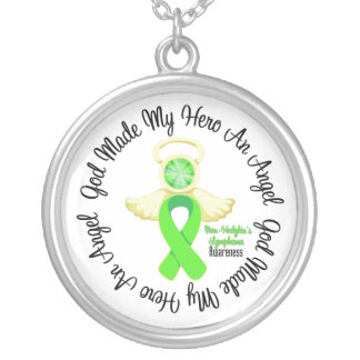 Non-Hodgkins Lymphoma God Made My Hero An Angel Round Pendant Necklace