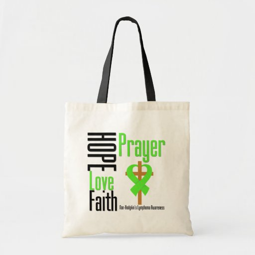 Non-Hodgkins Lymphoma Hope Love Faith Prayer Cross Canvas Bag