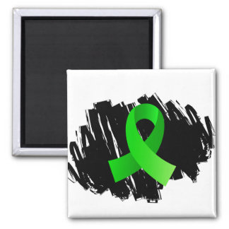 Non-Hodgkin's Lymphoma Lime Green Ribbon With Scri Square Magnet