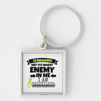 Non-Hodgkins Lymphoma  Met Its Worst Enemy.png Silver-Colored Square Key Ring