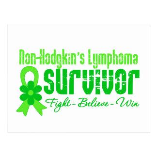 Non Hodgkins Lymphoma Survivor Flower Ribbon Postcard