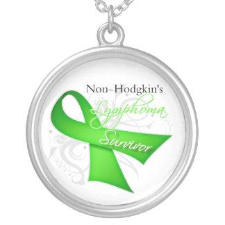 Non-Hodgkin's Lymphoma Survivor Round Pendant Necklace
