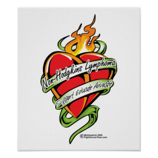 Non-Hodgkins Lymphoma Tattoo Heart Poster