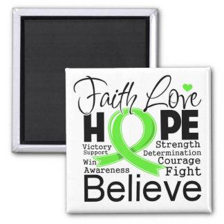 Non-Hodgkins Lymphoma Typographic Faith Love Hope Square Magnet
