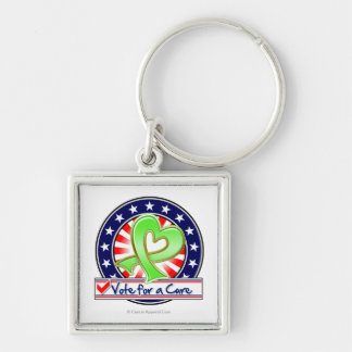 Non-Hodgkins Lymphoma Vote For a Cure Silver-Colored Square Key Ring