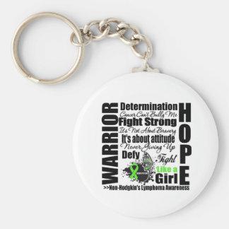 Non-Hodgkins Lymphoma Warrior Fight Slogans Basic Round Button Key Ring