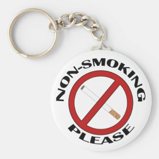 Non-Smoking, Please Basic Round Button Key Ring