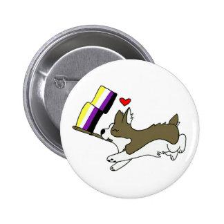 Nonbinary Pride Corgi Pin