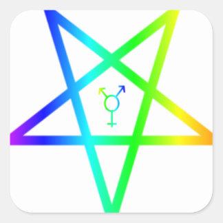 Nonbinary transgender inverted rainbow pentagram 2 square sticker