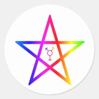 Nonbinary transgender rainbow pentagram round sticker