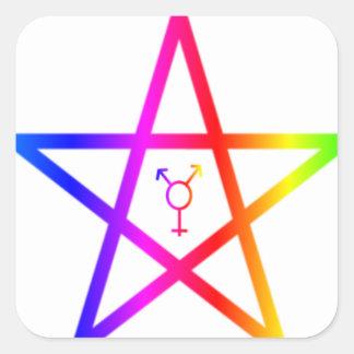Nonbinary transgender rainbow pentagram square sticker