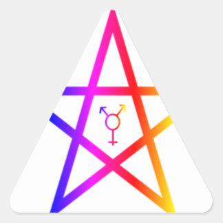 Nonbinary transgender rainbow pentagram stickers