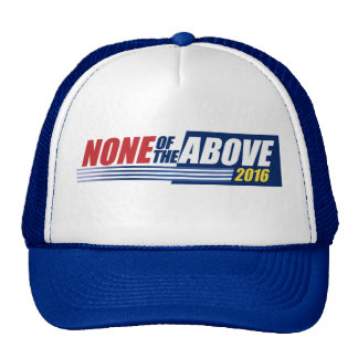 None of the Above. 2016. hat