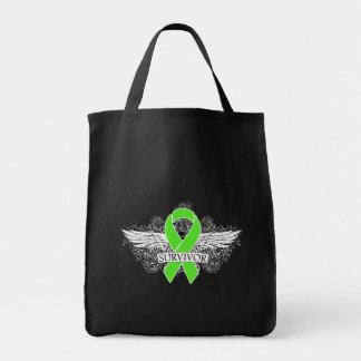 NonHodgkins Lymphoma Winged SURVIVOR Ribbon Grocery Tote Bag