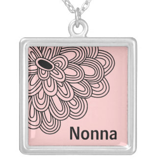 Nonna Necklace Trendy Black Flower on Pink