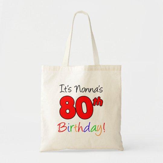 Nonna's 80th Birthday Fun and Colourful Tote Bag