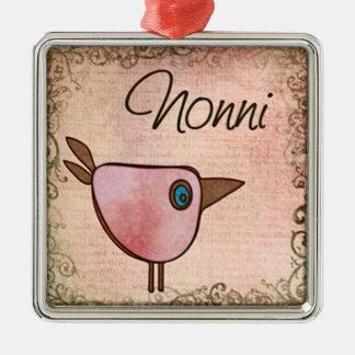 nonni pink birdie Silver-Colored square decoration