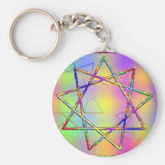 Nonogram Chakra Basic Round Button Key Ring