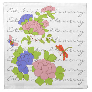 Nonya Floral/Eat, drink + be merry Cloth Napkin