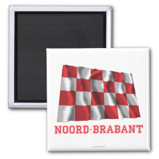 Noord-Brabant Waving Flag with Name Square Magnet