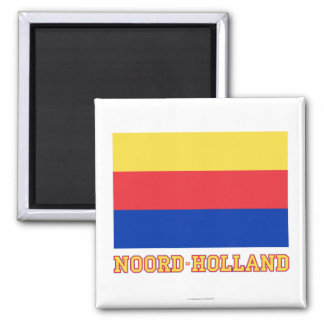 Noord-Holland Flag with name Square Magnet