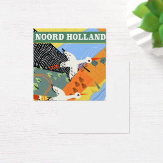 Noord Holland vintage style travel poster Square Business Card