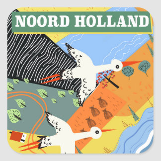 Noord Holland vintage style travel poster Square Sticker