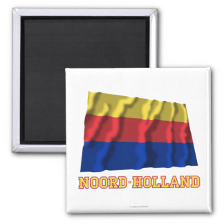 Noord-Holland Waving Flag with Name Square Magnet